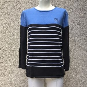 Nautical blue, black and white striped sweater